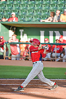 David Fletcher (4) of the Orem Owlz at bat against the Ogden Raptors in Pioneer League action at Lindquist Field on June 18, 2015 in Ogden, Utah.  This was Opening Night play of the 2015 Pioneer League season. (Stephen Smith/Four Seam Images)