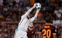 Calcio, Champions League, Gruppo E: Roma vs Barcellona. Roma, stadio Olimpico, 16 settembre 2015.<br /> Roma's goalkeeper Morgan De Sanctis grabs the ball during a Champions League, Group E football match between Roma and FC Barcelona, at Rome's Olympic stadium, 16 September 2015.<br /> UPDATE IMAGES PRESS/Isabella Bonotto