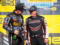 Sep 15, 2019; Mohnton, PA, USA; NHRA top fuel driver Austin Prock (left) with Billy Torrence during the Reading Nationals at Maple Grove Raceway. Mandatory Credit: Mark J. Rebilas-USA TODAY Sports
