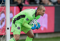 LOS ANGELES, CA - MARCH 01: GK Luis Robles #31 of Inter Miami CF making a save during a game between Inter Miami CF and Los Angeles FC at Banc of California Stadium on March 01, 2020 in Los Angeles, California.