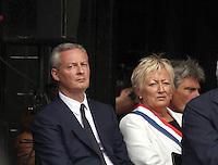 Bruno LeMaire - La ville de Saint-Etienne du Rouvray a organisé au parc omnisport Youri Gagarine une cérémonie en hommage au père Jacques Hamel, assassine dans son eglise par deux djihadistes.