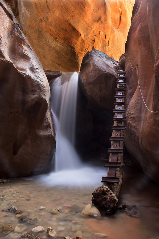 Waterfall and slot canyon. Kanarra Creek, UT