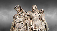 Close up of Roman Sebasteion relief  sculpture of Nero being crowned emperor by Agrippina, Aphrodisias Museum, Aphrodisias, Turkey. <br /> <br /> Agrippina crowns her young son Nero with a laurel wreath. She carries a cornucopia, a symbol of Fortune and Plenty, and he wears the armour and cloak of a Roman commander, with a helmet on the ground near his feet. The scene refers to Nero's accession as emperor in AD 54, and belongs before AD 59 when Nero had Agrippina murdered.