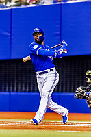 25 March 2019: Toronto Blue Jays outfielder Teoscar Hernandez at bat during an exhibition game against the Milwaukee Brewers at Olympic Stadium in Montreal, Quebec, Canada. The Brewers defeated the Blue Jays 10-5 in the first of two MLB pre-season games in the former home of the Montreal Expos. Mandatory Credit: Ed Wolfstein Photo *** RAW (NEF) Image File Available ***