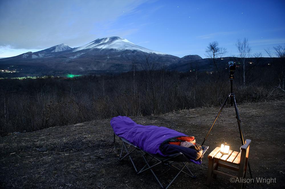 Japan. Hoshinoya Karuizawa luxury resort at the foot of Mt. Asam. Star gazing.