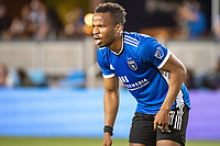 SAN JOSE, CA - AUGUST 17: Jeremy Ebobisse #11 of the San Jose Earthquakes waits for a throw in during a game between San Jose Earthquakes and Minnesota United FC at PayPal Park on August 17, 2021 in San Jose, California.