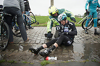 Nikolas Maes (BEL/Ettix-QuickStep) crashed with teammates Mark Cavendish (GBR/Ettix-QuickStep) & Lukasz Wisniowski (POL/Ettix-QuickStep) on the same section of slippery cobbles<br /> <br /> 77th Gent-Wevelgem 2015