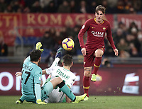Football, Serie A: AS Roma - US Sassuolo, Olympic stadium, Rome, December 26, 2018. <br /> Roma's Nicolò Zaniolo (r) scores contrasted by Sassuolo's goalkeeper Andrea Consigli (l) and Gianmarco Ferrari (c) during the Italian Serie A football match between Roma and Sassuolo at Rome's Olympic stadium, on December 26, 2018.<br /> UPDATE IMAGES PRESS/Isabella Bonotto