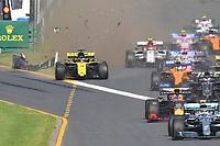 March 17, 2019: Daniel Ricciardo (AUS) #3 from the Renault F1 Team crashes at the start of the 2019 Australian Formula One Grand Prix at Albert Park, Melbourne, Australia. Photo Sydney Low