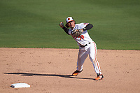 Baltimore Orioles second baseman Jahmai Jones (78) throws to first base during a Major League Spring Training game against the Pittsburgh Pirates on February 28, 2021 at Ed Smith Stadium in Sarasota, Florida.  (Mike Janes/Four Seam Images)