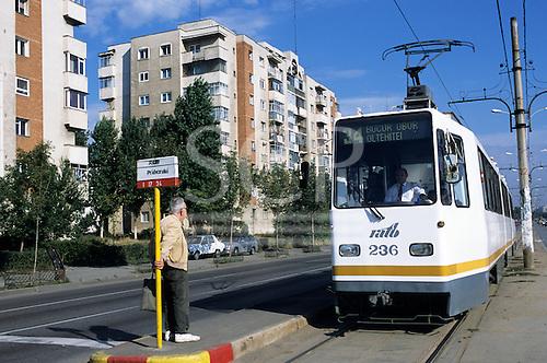 Bucharest, Romania. Modern RATB tram at stop.