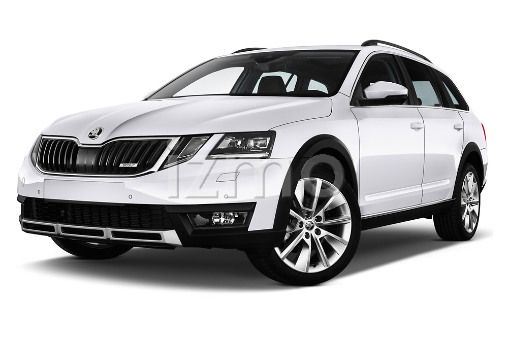 Stock pictures of low aggressive front three quarter view of a 2017 Skoda Octavia Combi Scout 5 Door Wagon