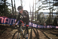World Champion Mathieu Van der Poel (NLD/BKCP-Corendon) showing his black rainbow kit at recon<br /> <br /> UCI Cyclocross World Cup Heusden-Zolder 2015