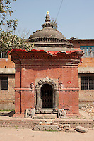Kathmandu, Nepal.  Shrine inside a Neglected Neighborhood Hindu Temple.