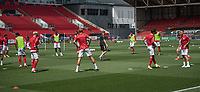 Bristol City during the pre-match warm-up <br /> <br /> Photographer David Horton/CameraSport<br /> <br /> The EFL Sky Bet Championship - Bristol City v Sheffield Wednesday - Sunday 28th June 2020 - Ashton Gate Stadium - Bristol <br /> <br /> World Copyright © 2020 CameraSport. All rights reserved. 43 Linden Ave. Countesthorpe. Leicester. England. LE8 5PG - Tel: +44 (0) 116 277 4147 - admin@camerasport.com - www.camerasport.com