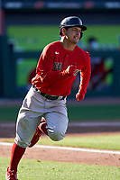 Boston Red Sox Nick Yorke (80) runs to first base during a Major League Spring Training game against the Atlanta Braves on March 7, 2021 at CoolToday Park in North Port, Florida.  (Mike Janes/Four Seam Images)