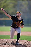 Pittsburgh Pirates John Pomeroy (80) during a minor league Spring Training game against the Philadelphia Phillies on March 13, 2019 at Pirate City in Bradenton, Florida.  (Mike Janes/Four Seam Images)