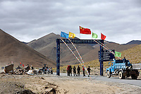 "Where the road to Everest base camp begins near New Tingri in Tibet, China. China started building a controversial 67-mile ""paved highway fenced with undulating guardrails"" to Mount Qomolangma, known in the west as Mount Everest, to help facilitate next year's Olympic Games torch relay..12 Jul 07"