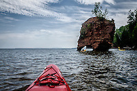 A sea stack seen from a kayak at Wisconsin's Apostle Islands National Lakeshore.