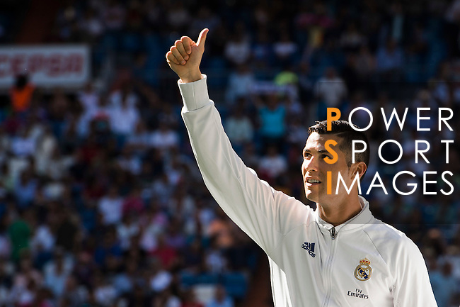 Cristiano Ronaldo of Real Madrid reacts prior to the La Liga match between Real Madrid CF and SD Eibar at the Santiago Bernabéu Stadium on 02 October 2016 in Madrid, Spain. Photo by Diego Gonzalez Souto / Power Sport Images