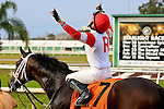January 16, 2016: Miguel Mena celebrates after winning the Louisiana Stakes race with International Star at the Fairgrounds race course in New Orleans Louisiana. Steve Dalmado/ESW/CSM