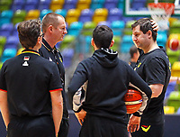 Trainerstab um Bundestrainer Henrik Rödl bespricht sich - 20.02.2018: Deutsche Nationalmannschaft bereitet sich auf das WM-Quali-Spiel gegen Serbien vor, Fraport Arena Frankfurt