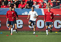 03 June 2012: US Men's National Soccer Team forward Herculez Gómez #9,US Men's National Soccer Team forward Landon Donovan #10 and US Men's National Soccer Team defender Steve Cherundolo #6 in action during the warm-up in an international friendly  match between the United States Men's National Soccer Team and the Canadian Men's National Soccer Team at BMO Field in Toronto..The game ended in 0-0 draw..