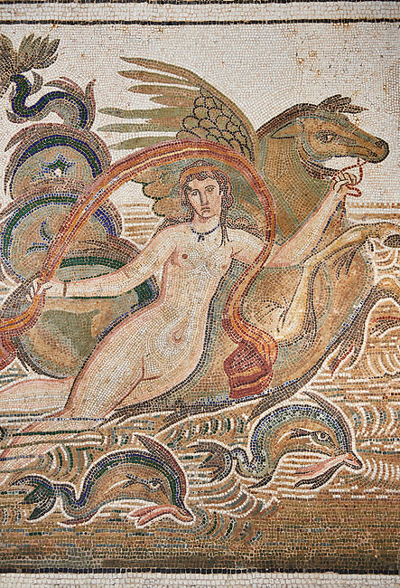 Picture of a Roman mosaics design depicting a Nymph lying on a sea horse with two dolphins, from the ancient Roman city of Thysdrus. 3rd century AD, House of Dolphins. El Djem Archaeological Museum, El Djem, Tunisia.