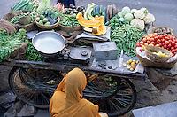 Asie/Inde/Rajasthan/Udaipur: Détail étal d'une marchande de légumes devant le temple de Jagdish (Temple vishnouite érigé en 1651 dans le style des sanctuaires de Chittorgarh par le maharana Jagat Singh Ier)