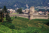 castle, Switzerland, Ticino, Bellinzona, Castello di Montebello a medieval castle surrounded by vineyards in the village of Bellinzona.