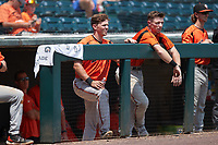 (L-R) Adley Rutschman (35) and Patrick Dorrian (4) watch the action from the dugout during the game against the Richmond Flying Squirrels at The Diamond on July 28, 2021, in Richmond Virginia. (Brian Westerholt/Four Seam Images)