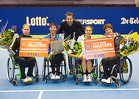 21-12-13,Netherlands, Rotterdam,  Topsportcentrum, Tennis Masters, Final doubles lady's wheelchair:  winners :  Marjolein Buis and Sharon Walraven(R) and runners up Mieke van Chastelet and Michaela Spaanstra.<br /> Photo: Henk Koster