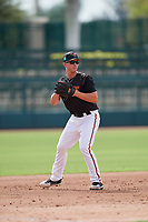GCL Orioles third baseman Jared Gates (18) during the first game of a doubleheader against the GCL Twins on August 1, 2018 at CenturyLink Sports Complex Fields in Fort Myers, Florida.  GCL Twins defeated GCL Orioles 7-6 in the completion of a suspended game originally started on July 31st, 2018.  (Mike Janes/Four Seam Images)