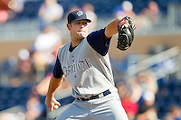 Starting pitcher Justin Cassel of the Charlotte Knights in action against the Durham Bulls at Durham Bulls Athletic Park on August 28, 2011 in Durham, North Carolina.   (Brian Westerholt / Four Seam Images)