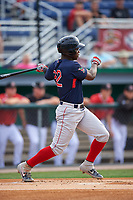Lowell Spinners Gilberto Jimenez (32) bats during a NY-Penn League game against the Batavia Muckdogs on July 11, 2019 at Dwyer Stadium in Batavia, New York.  Batavia defeated Lowell 5-2.  (Mike Janes/Four Seam Images)