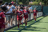 STANFORD, CA - SEPTEMBER 12: Katie Duong and Julia Leontini after a game between Loyola Marymount University and Stanford University at Cagan Stadium on September 12, 2021 in Stanford, California.