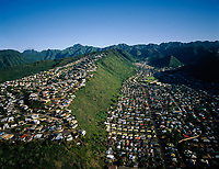 Homes on Ridgetops & In Valleys, Aerial View, Honolulu, Oahu, Hawaii, USA.