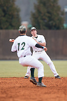 Charlotte 49ers second baseman TJ Nichting (1) makes a throw to shortstop Luke Gibbs (12) during the game against the Akron Zips at Hayes Stadium on February 22, 2015 in Charlotte, North Carolina.  The Zips defeated the 49ers 5-4.  (Brian Westerholt/Four Seam Images)