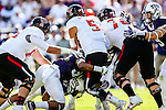 Texas Tech Red Raiders quarterback Patrick Mahomes II (5) in action during the game between the Texas Tech Red Raiders and the TCU Horned Frogs at the Amon G. Carter Stadium in Fort Worth, Texas.