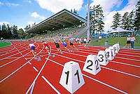 Burnaby, BC, British Columbia, Canada - Start of Men's 100m Track & Field Race at Swangard Stadium, Central Park