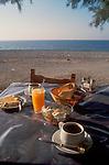Crete, Greece, A Greek Breakfast, village of Loutro or Loutron, Mediterranean Sea, Europe.