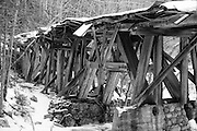 Pemigewasset Wilderness - Timber Trestle 16  (Black Brook Trestle) along the old East Branch & Lincoln Railroad in Lincoln, New Hampshire USA at the old Camp 16 location. This was a logging railroad which operated from 1893 - 1948.