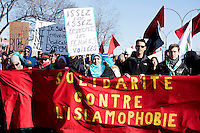 Montreal , CANADA, march 28, 2015 - People march against<br /> PEGIDA  anti-Islam demonstration in Little Maghreb. Pegida cancelled its demonstration at the last minute.<br /> <br /> photo : Agence Quebec Presse- Agence Quebec Presse