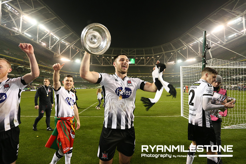 Patrick Hoban celebrates at the end of the  Irish Daily Mail FAI Cup Final between Dundalk and Cork City, on Sunday 4th November 2018, at the Aviva Stadium, Dublin. Mandatory Credit: Michael P Ryan.