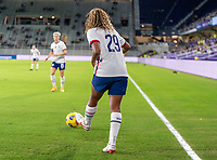 ORLANDO, FL - JANUARY 22: Catarina Macario #29 of the USWNT passes the ball during a game between Colombia and USWNT at Exploria stadium on January 22, 2021 in Orlando, Florida.