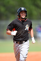 Miami Marlins outfielder Austin Dean (3) during a minor league spring training game against the New York Mets on March 28, 2014 at the Roger Dean Stadium Complex in Jupiter, Florida.  (Mike Janes/Four Seam Images)