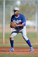 Los Angeles Dodgers third baseman Jared Walker (23) during an Instructional League game against the Cincinnati Reds on October 11, 2014 at Goodyear Training Complex in Goodyear, Arizona.  (Mike Janes/Four Seam Images)