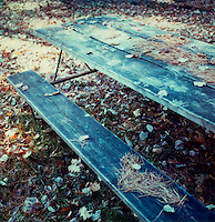 Picnic table covered in leaves<br />