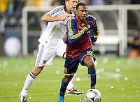 SEATTLE, WA--Real Salt Lake forward Robbie Findley drives downfield during the MLS Cup championships at Qwest field in Seattle. SUNDAY, NOVEMBER 22, 2009. PHOTO BY DON FERIA.