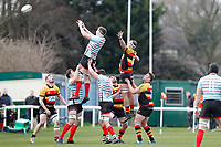 Teams compete for a line-out during the English National League match between Richmond and Blackheath  at Richmond Athletic Ground, Richmond, United Kingdom on 4 January 2020. Photo by Carlton Myrie.